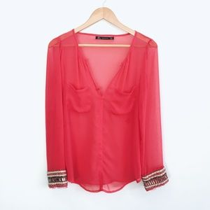Zara Blouse with Beaded Cuffs - size Small